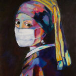 painting of girl with a mask by Lisa Curry